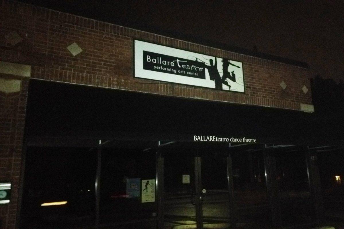 Ballare Teatre performing arts center sign at night