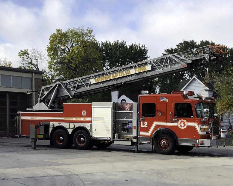 Fire engine outside fire station