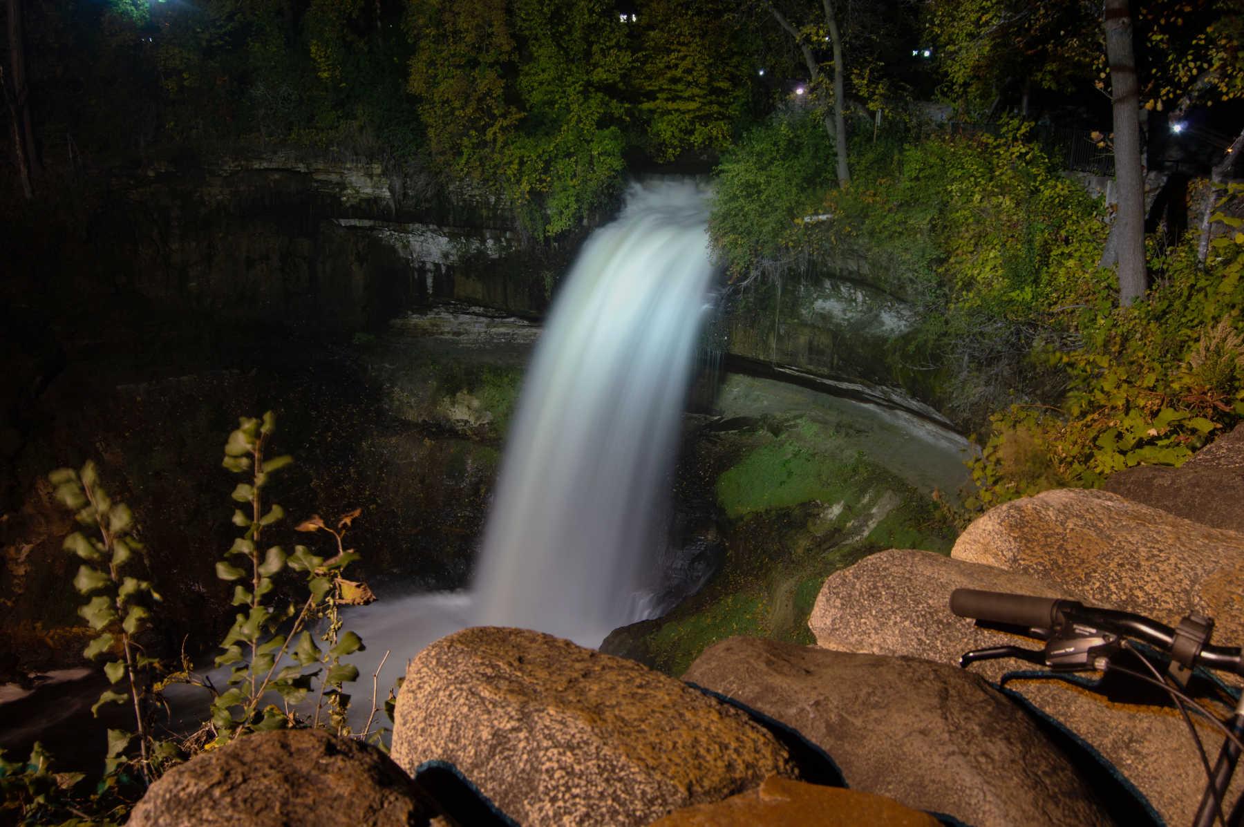 waterfall lit at night
