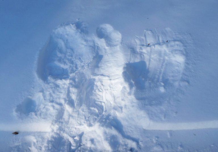 angel-like print in fresh snow, tinted bluish